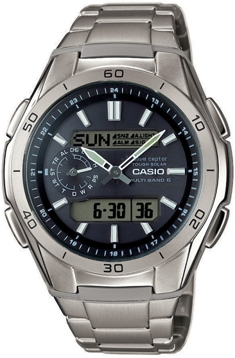 1aab9b3c7f6 ... Pánské titanové rádiem řízené solární hodinky se stopkami.  WVA-M650TD-1AER ...